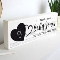 Personalised Heart Countdown Wooden Block Sign